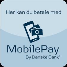 skilt med at du her kan betale med mobile pay